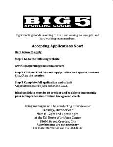 Big 5 jobs