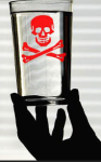 skull and crossbones glass of water